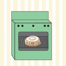 cinnamon bun in the oven