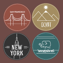 travel, stickers, New York, Bangladesh, Egypt, San Francisco, badge