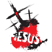 Jesus, Crucifixion, Good Friday, hand drawn lettering, three crosses, cross, red, black, blood of Christ, word