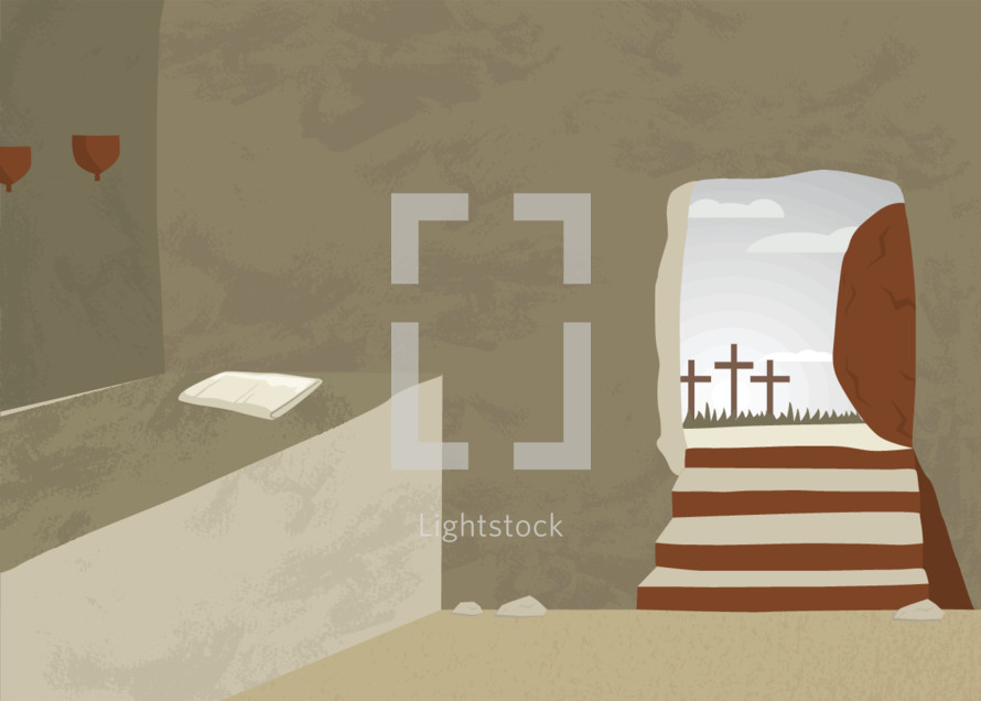 Empty tomb on Easter morning. He is risen!