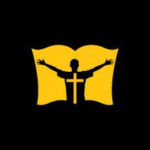 yellow, man, silhouette, raised hands, worship, praise, Bible, cross, logo, icon