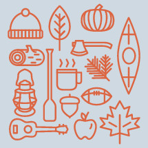 pumpkin, apple, guitar, camping, leaves, acorn, football, fall, lantern, hot cocoa, coffee, mug, log, firewood, ax, canoe, paddle