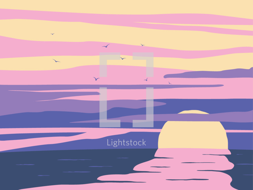 sunsetting over water illustration