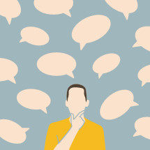 man with multiple speech bubbles