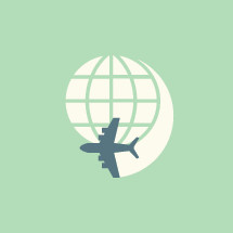 globe and airplane icon.