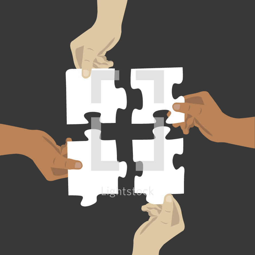 connection, puzzle pieces, puzzle, hands, diversity