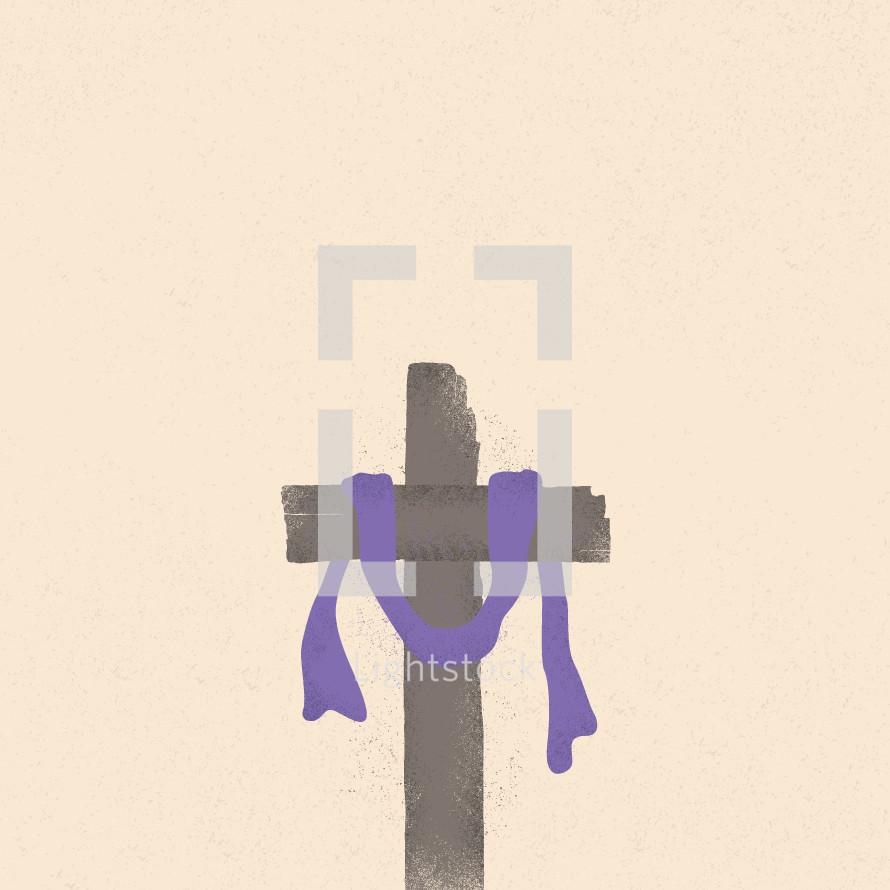 Illustration of a purple shroud on a cross.
