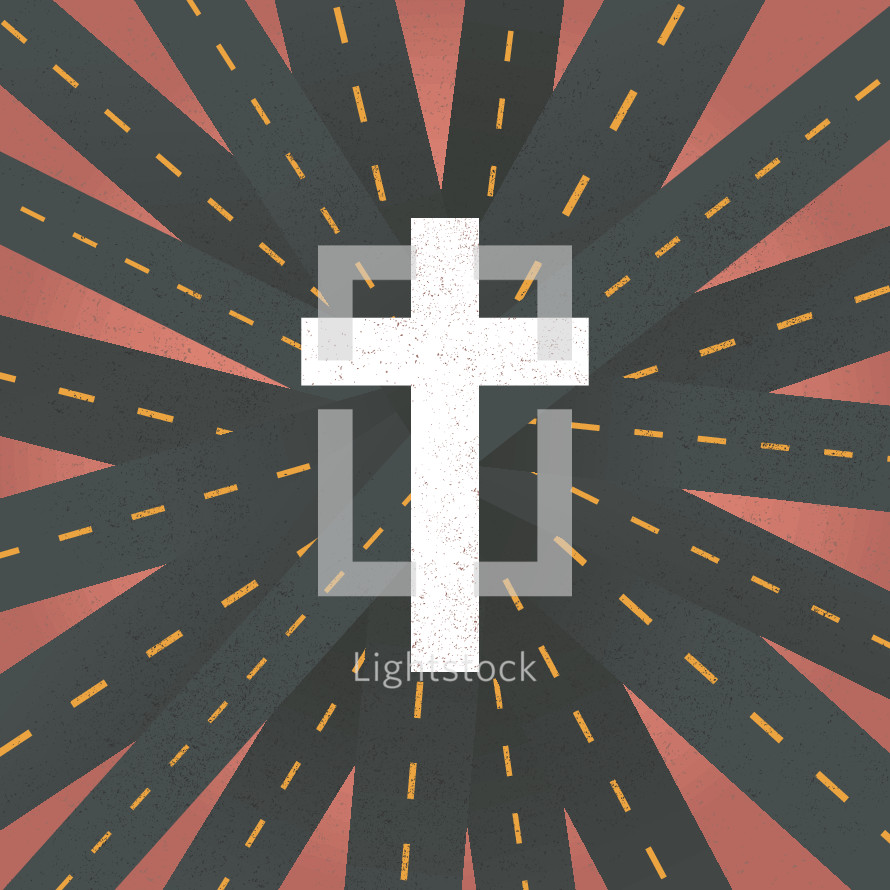 roads leading to a cross.