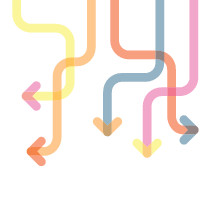 Colorful interconnected arrows illustration.