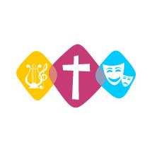 cross, harp, theatrical mask logos