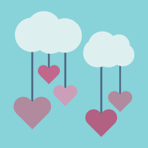 hearts hanging from clouds