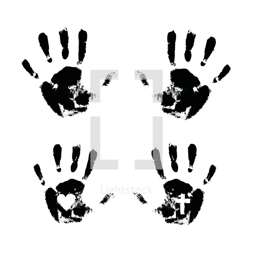 black hand print vectors on white.