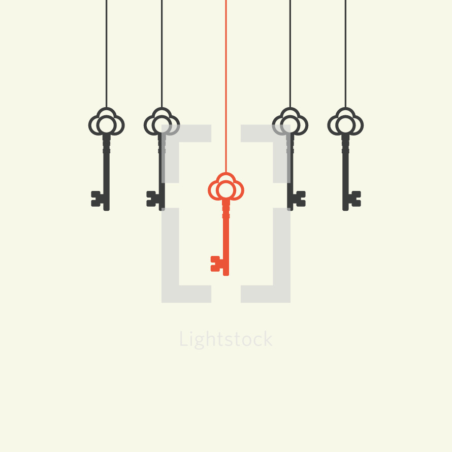 unique hanging key illustration.