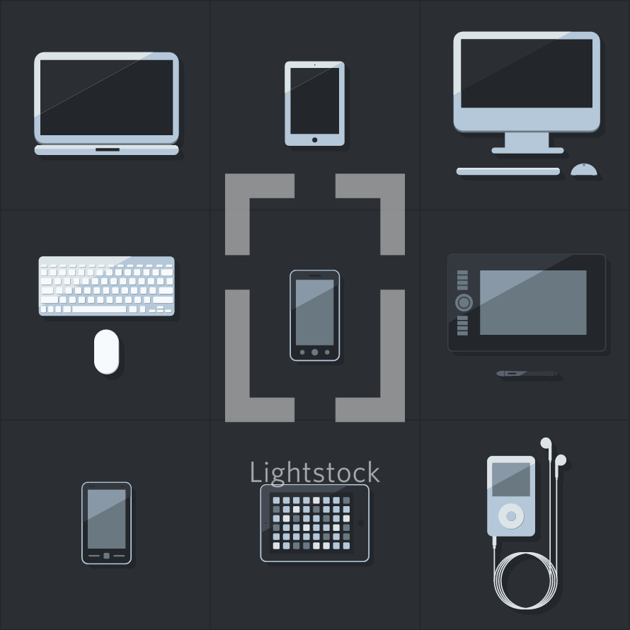 technology, electronics, iPhone, cellphone, iPad, tablet, iPod, earbuds, keyboard, computer, mouse, computer mouse, computer screen, media player