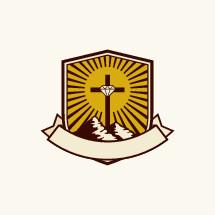 mountains, diamond, banner, cross, radiating, sunrise, camp, icon
