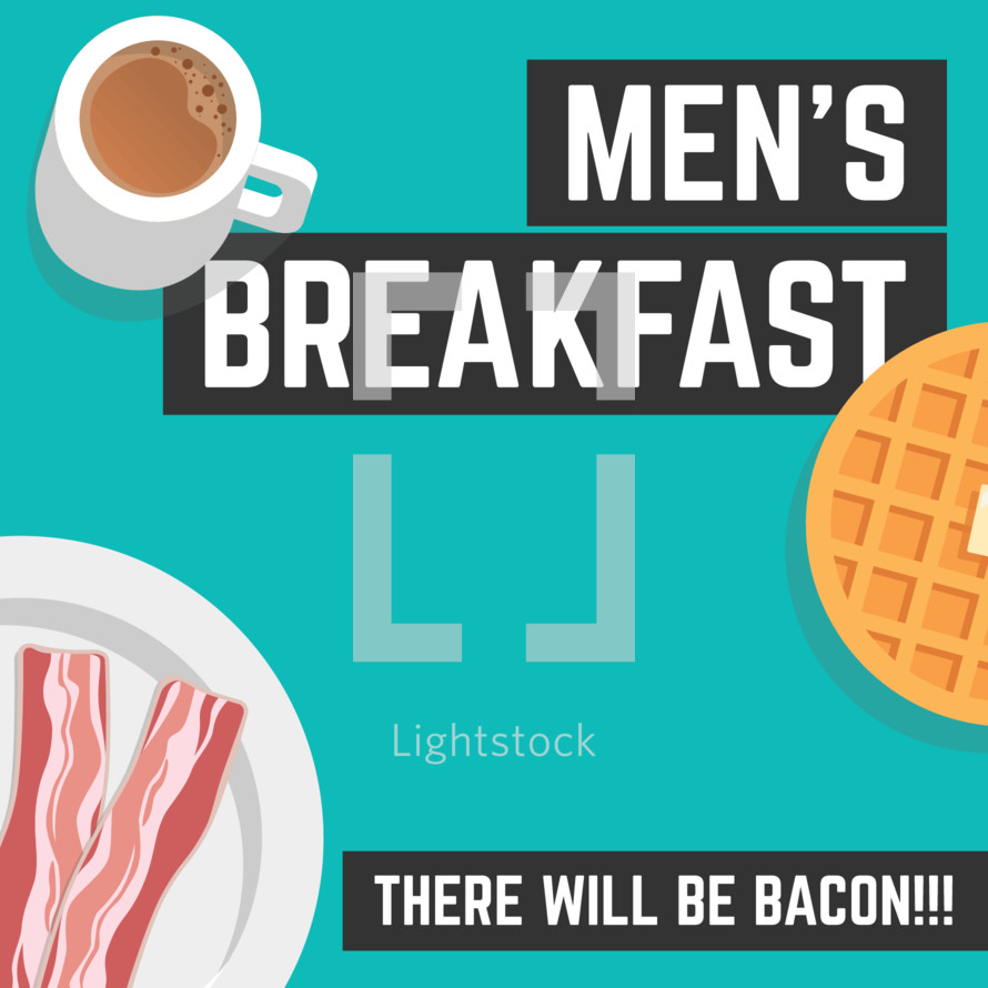 men's breakfast graphic for ministry fellowship or Bible study
