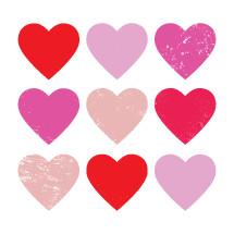 Set of grunge heart illustrations.