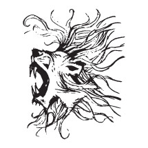 sketched roaring lion head illustration.