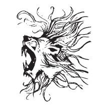 sketched roaring lion head illustration.