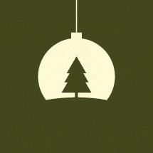Hanging Christmas tree ornament illustration.