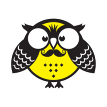 owl with mustache