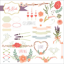 Spring love icon set