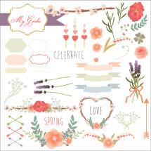 Spring love icon set
