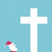Santa looking up at a cross.