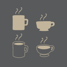 steaming coffee cups icons