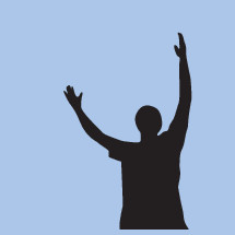 silhouette of a man with raised hands