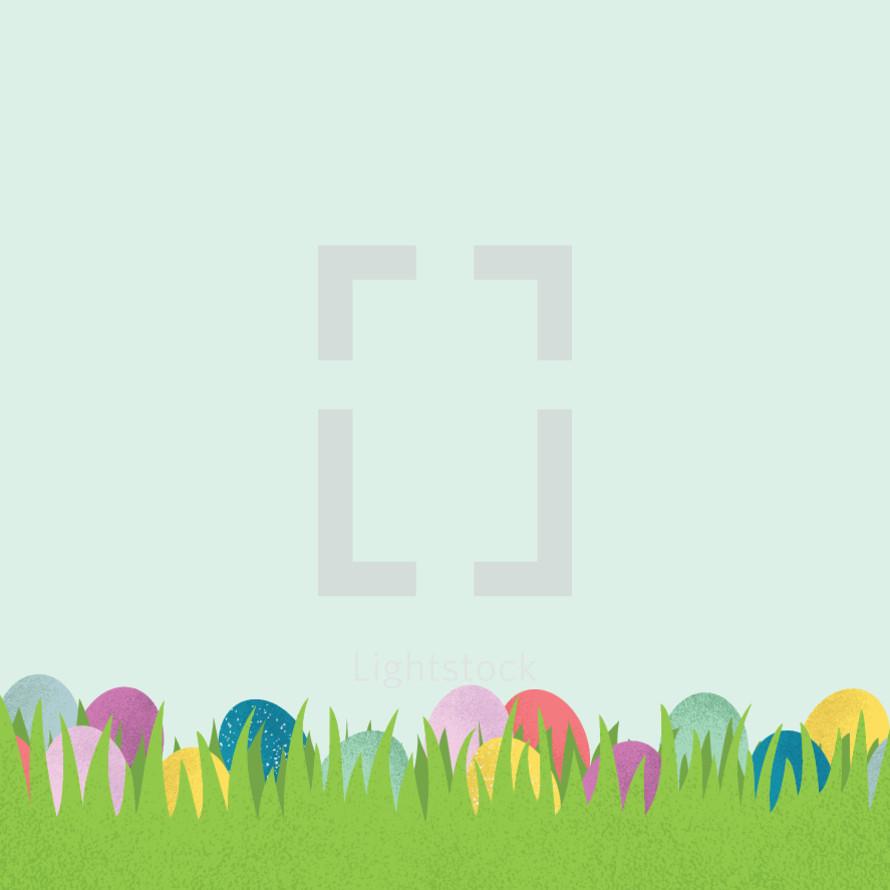 Easter eggs in grass illustration.