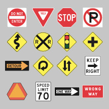 realistic road signs vector set.
