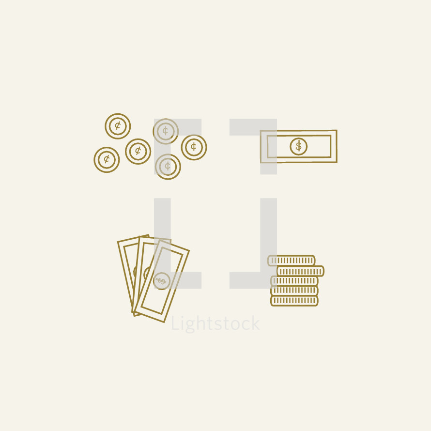 coins and cash