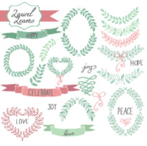 laurel leaves, leaves, love, script, framing, joy, peace, twigs, sprigs, spring, celebrate, hope, happy, wreath, banner