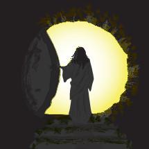 Jesus leaving the Tomb
