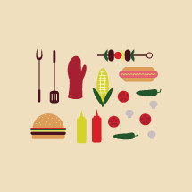 BBQ food icon set