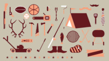 man stuff, lawn mower, father's day, illustrations, icons, fishing pole, fishing, fish, putting green, antlers, hunting, tools, hammer, saw, ax, banner, golf clubs, grill, tent, camping, chain saw, stars, border, tie, necktie, spatula, rifle, gun, football, sports, basketball, baseball, tongs, pocket knife, mustache, paint roller, pistol, boots