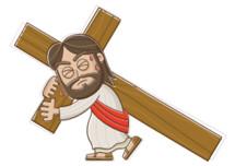 Jesus walking with the cross