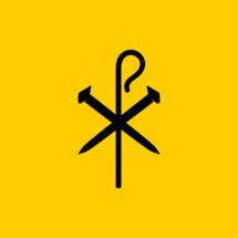 Christian symbols. Crucifix nails and shepherd's staff.