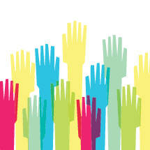 raised hands volunteering illustration.
