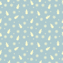 snowman and snowflakes on blue background pattern