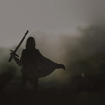 silhouette with a cape and sword