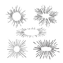 hand drawn sunburst illustrations.
