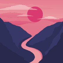 sunset landcape illustration