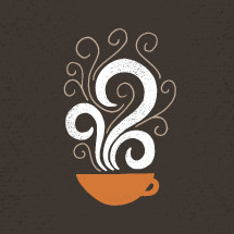 steaming cup of coffee