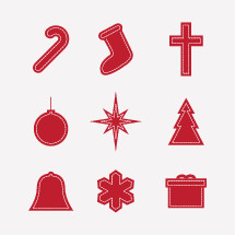 stitched, icons, Christmas, candy cane, bell, snowflake, red, present, gift, box, star, ornament, Christmas tree, stocking, cross