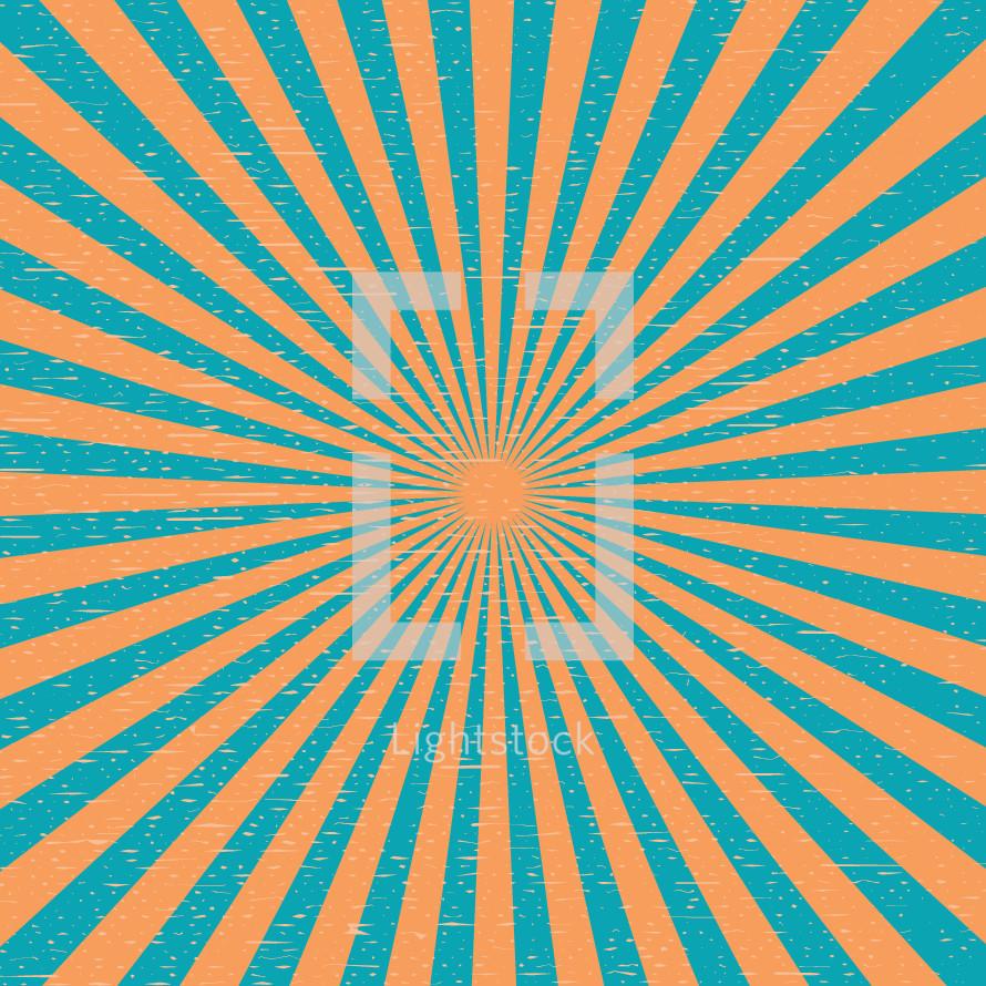 A blue and orange sunburst.