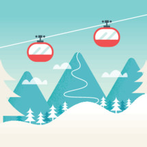 Cable Cars and Snowy Mountain Landscape. Ski Winter Resort, Hills and Slopes Background.