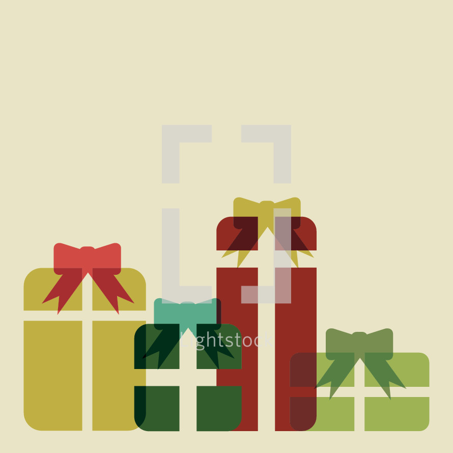 wrapped Christmas presents illustration.