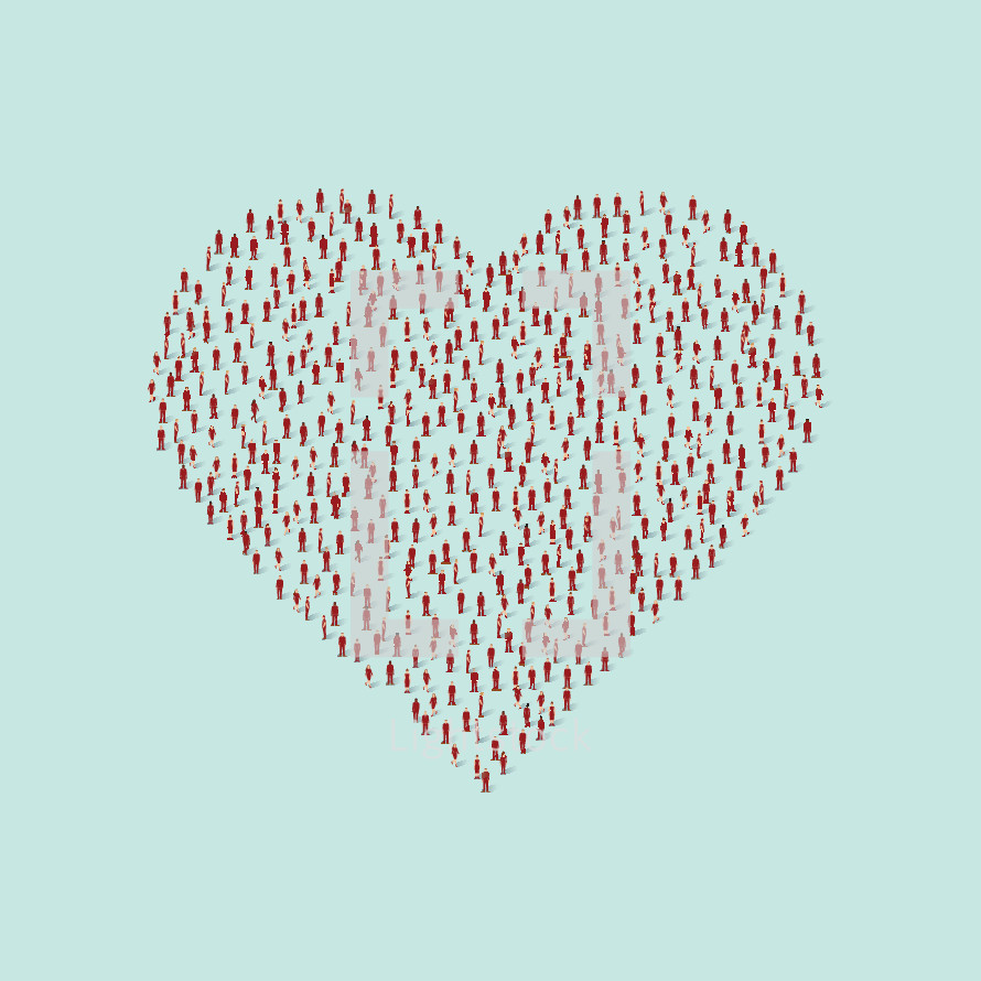 crowd of people forming a heart.